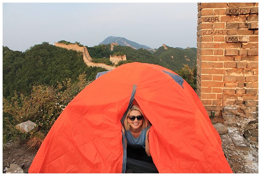 التخييم بالقرب من سور الصين العظيم